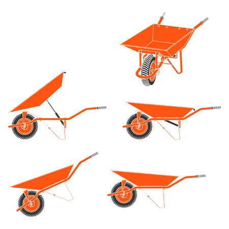 Wheelbarrow multiple views and colored. Without outline. Ilustrace