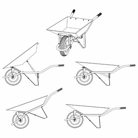 Wheelbarrow multiple views and outline only.