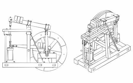 Wood Beam Engine verschillende contouren zoals penseelstreken