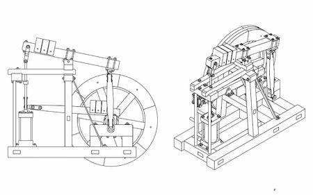 Alleen omtrek van Wood Beam Engine