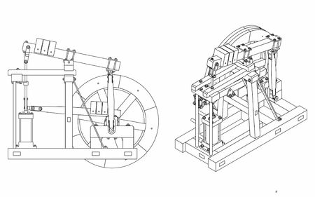 Wood Beam Engine outline only Illustration
