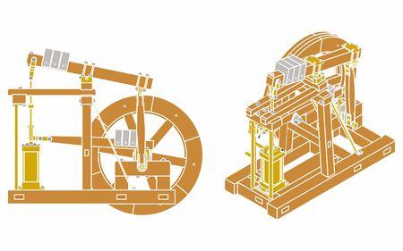 Wood Beam Engine without outline and color Ilustração