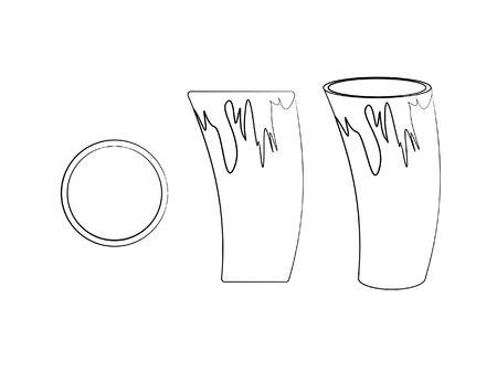 Cuia of Yerba mate for terere. Different outline like brushstrokes. Horn style. Illustration