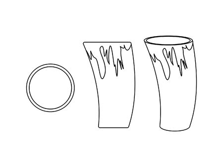 Cuia of Yerba mate for terere. Outline only. Horn style.