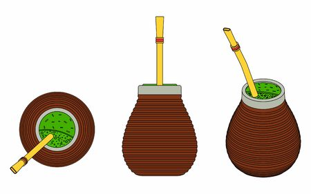 Cuia with Bombilia, water and Yerba mate for terere. Black outline.