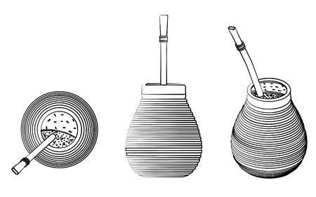 Cuia with Bombilia, water and Yerba mate for terere. Different outline like brushstrokes. Illustration