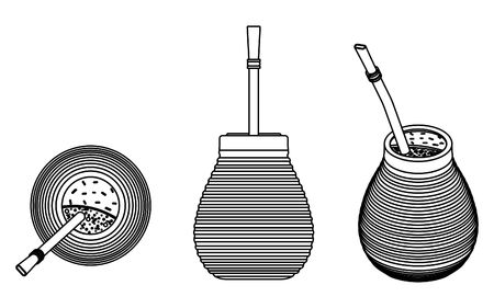 Cuia with Bombilia, water and Yerba mate for terere. Outline only.