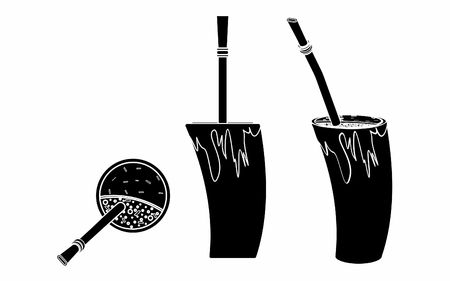 Cuia with water, Bombilia, and Yerba mate for terere. Horn style. Black fill.