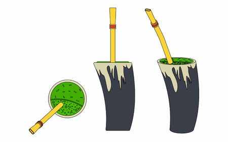 Cuia with water, Bombilia, and Yerba mate for terere. Horn style. Black outline.