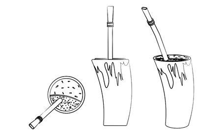 Cuia with water, Bombilia, and Yerba mate for terere. Horn style. Outline like a brushstrokes. Vectores
