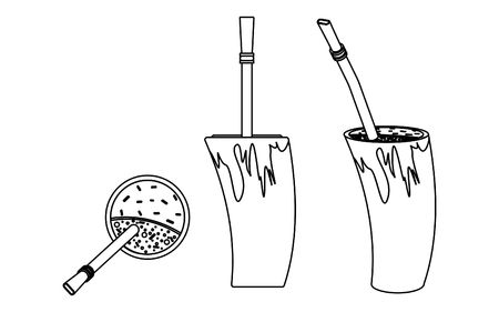 Cuia with water, Bombilia, and Yerba mate for terere. Horn style. Outline only.