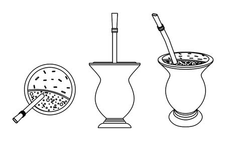 Cuia with Yerba mate, water and Bombilia. Outline only.  イラスト・ベクター素材
