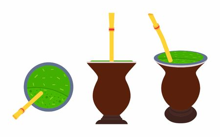 Cuia with Yerba mate, water and Bombilia Illustration