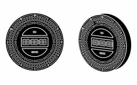 Led clock colored. Black fill. Banco de Imagens - 106052337