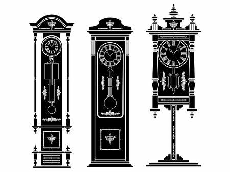 Floor clock colored. Black fill. Иллюстрация