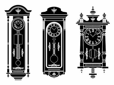 Wall clock black fill Иллюстрация