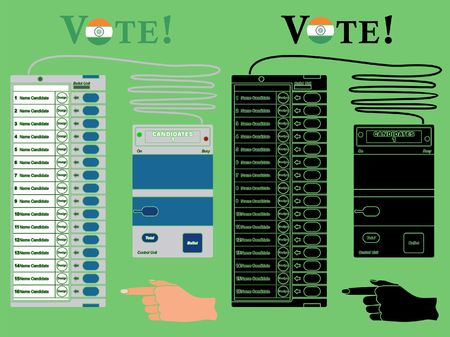 Electronics Ballot box India colored. Without outline and black fill.
