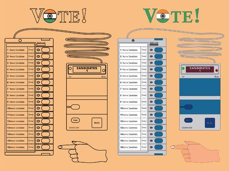 Electronics Ballot box India colored. Outline only and with black outline.