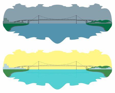 Hercilio Luz Bridge skyline. Day and night. Иллюстрация