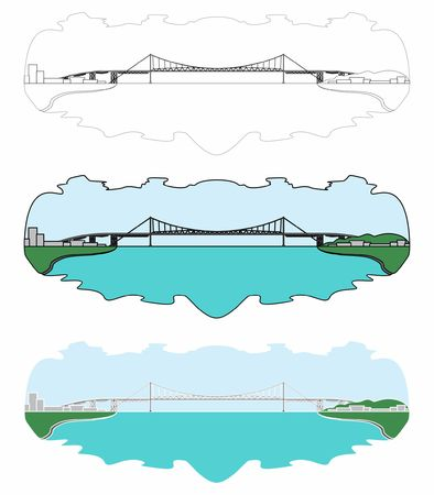 Hercilio Luz Bridge skyline. Full colored. Outline only and without outline. Ilustração