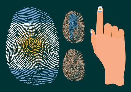 Fingerprint and hand for Argentina Иллюстрация