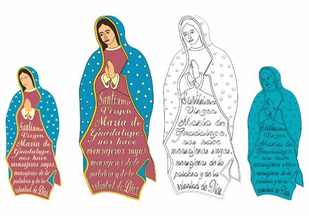 Our Lady of Guadalupe and excerpt from the prayer. Illustration
