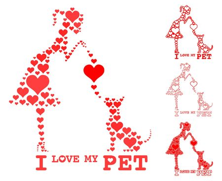 I love my pet Girl and dog fill heart.