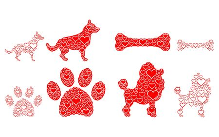 Puppies made from the heart and outline. Illustration