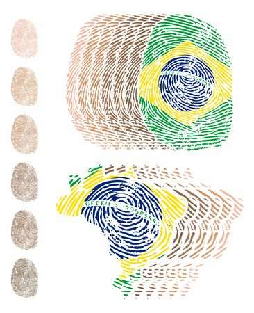 Brazil fingerprint multiple colors skin and map Ilustração