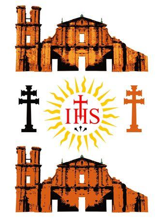 Jesuit Missions and symbols Иллюстрация