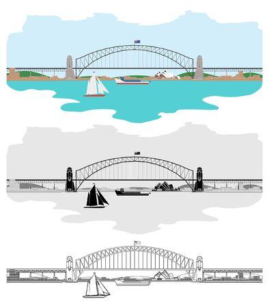 Sydney Harbor Bridge and other Australian symbols Иллюстрация