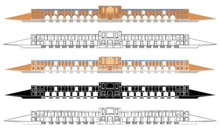 Khaju Bridge front side. Colored and outline Иллюстрация