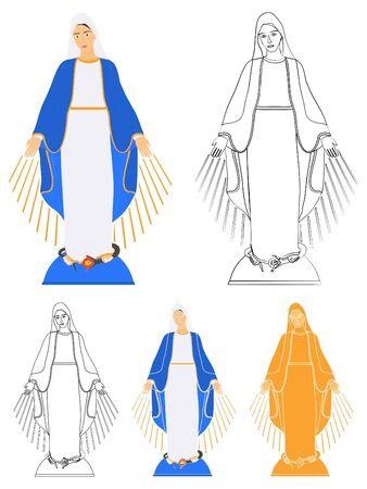 Nuestra Señora de Gracia en color y contorno solamente