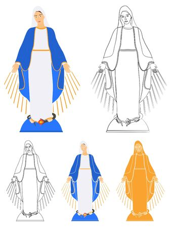 Our Lady of Grace colored and outline only 版權商用圖片 - 129069317