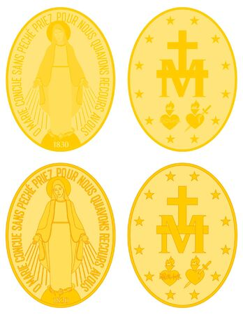 Our Lady of Grace gold medal colored and outline