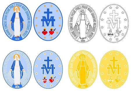 Our Lady of Grace medal colored and outline