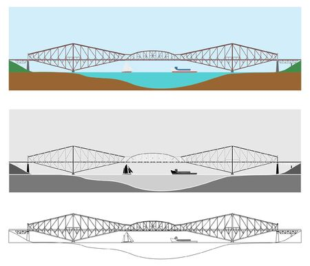 Quebec bridge colored and outline only