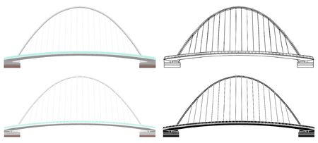 Gateshead Millenium Bridge colored and outline only