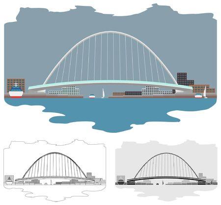 Gateshead Millenium Bridge colored skyline and view around Illustration