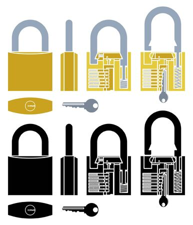 Padlock mechanism working colored and without outline