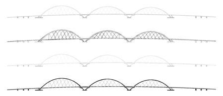 Juscelino Kubitschek Bridge colored and outline only Ilustração