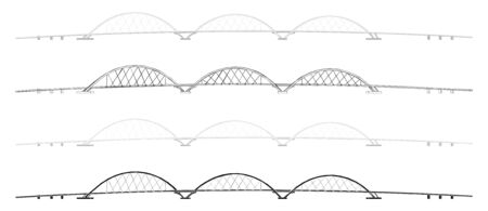 Juscelino Kubitschek Bridge colored and outline only Иллюстрация