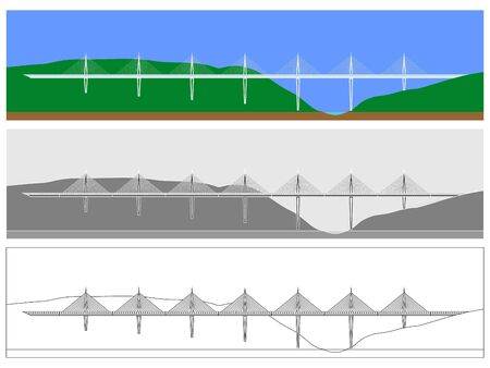 Millau Bridge skyline colored and outline only