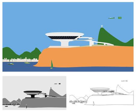 Museum of Contemporary Art of Niteroi landscape colored and outline