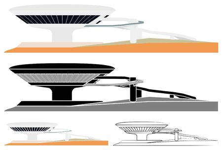 Museum of Contemporary Art of Niteroi skyline colored and outline