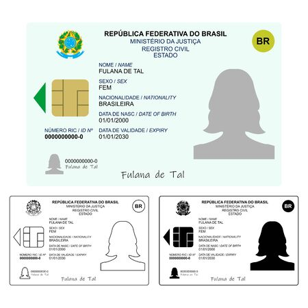 New ID Card Only graphical representation without scale or precision of the original elements. Иллюстрация