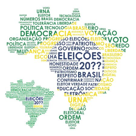 Word Brazil Map for elections Çizim