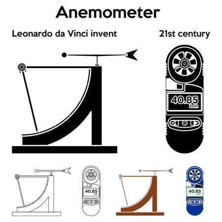 Anemometer Leonardo da Vinci invented Outline only and without. Ilustração