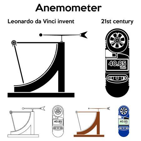 Anemometer Leonardo da Vinci invented Outline only and without. Illustration