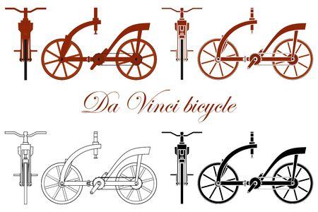 Leonardo da Vinci Holzfahrrad Vektorgrafik